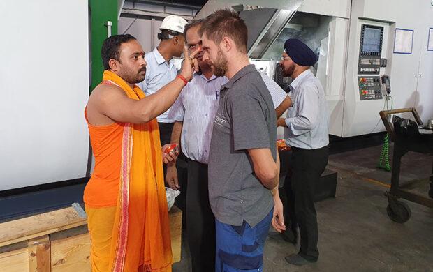 Puja ceremony for CNC machine